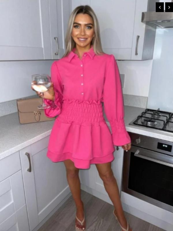 Dana - Fuschia Pink Shirt & Skirt Set