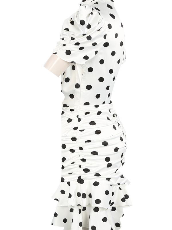 White & Black Polkadot Ruched Dress