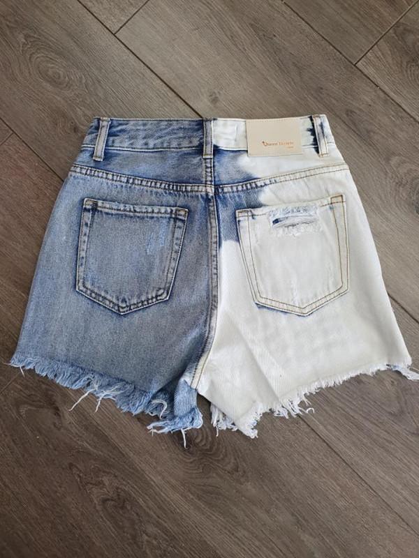 Distressed Blue & Tie Dye Denim Shorts