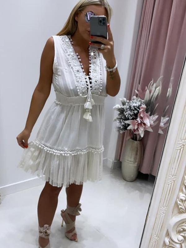 Embellished White Mini Dress