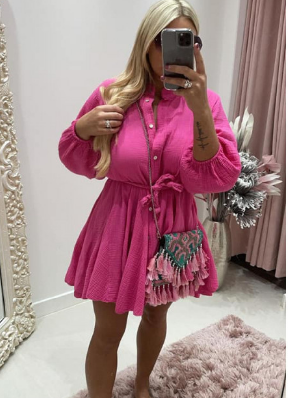 Fuschia Pink Dress With Pleated Rope Belt