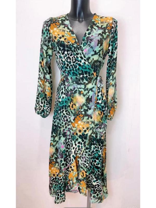 Green With Animal Print Chiffon Wrap Midi Dress