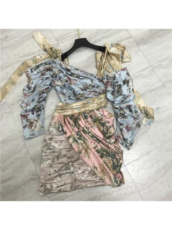 Floral Drape Mini Dress