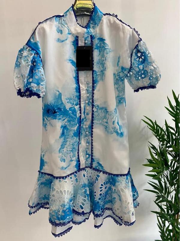 Jenna - White & Blue Contrast Dress