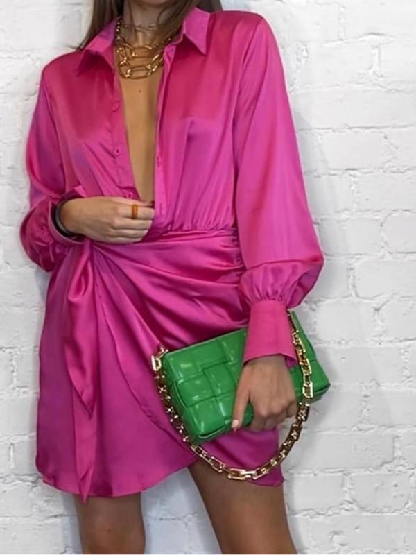 Hot Pink Satin Wrap Shirt Dress