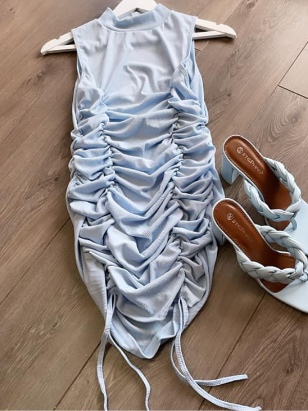Ice Blue Ruched Mini Dress