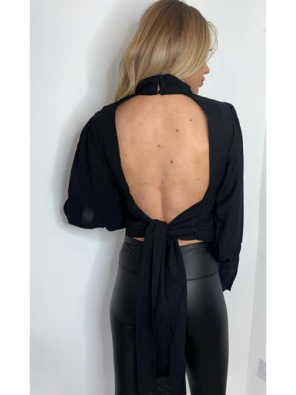 Black Cut Out Back Top