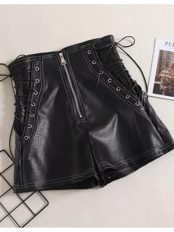 Lace Me Up - Black PU Leather Shorts