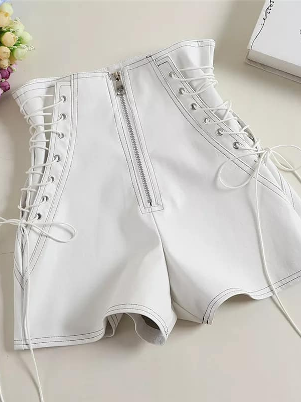 Lace Me Up - White PU Leather Shorts
