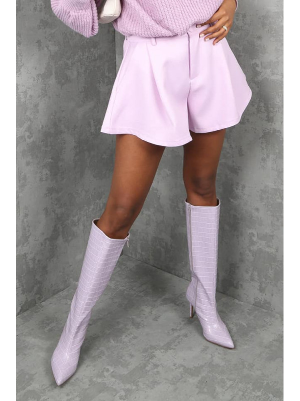 Lilac Tailored Baggy Shorts