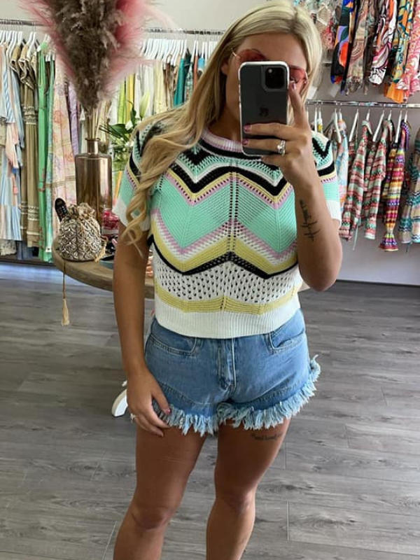 Mint Green Zig Zag Knitted Top
