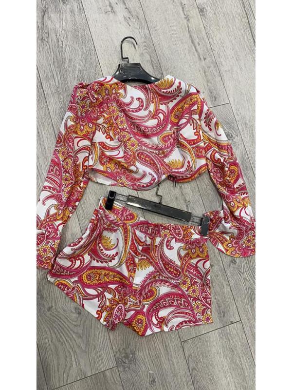 Pink Paisley Print Top & Shorts