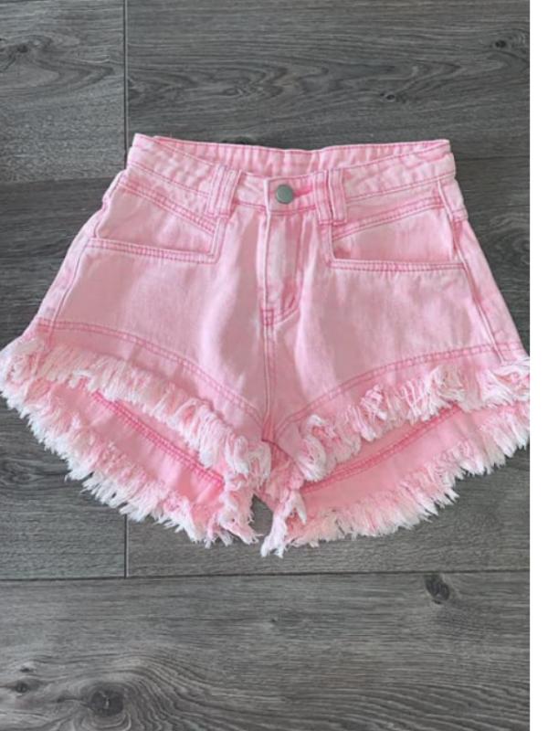Pink Denim Frayed Shorts