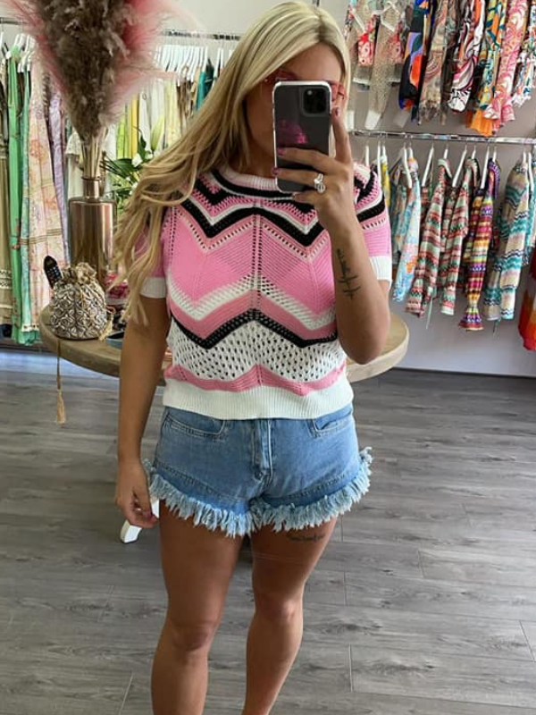 Pink Zig Zag Knitted Top