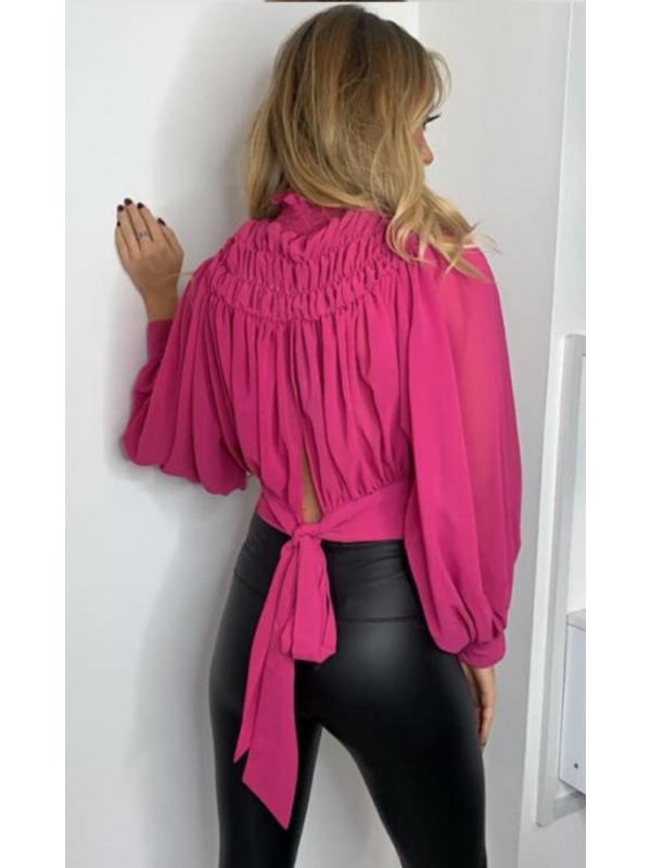 Pink Chiffon Ruched Top
