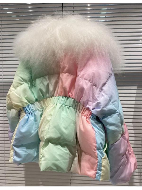 Rainbow Padded Jacket with Fur Collar