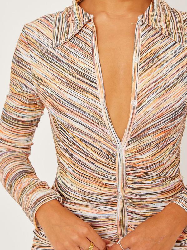 Rhea - Cream Mix Ruched Front Dress