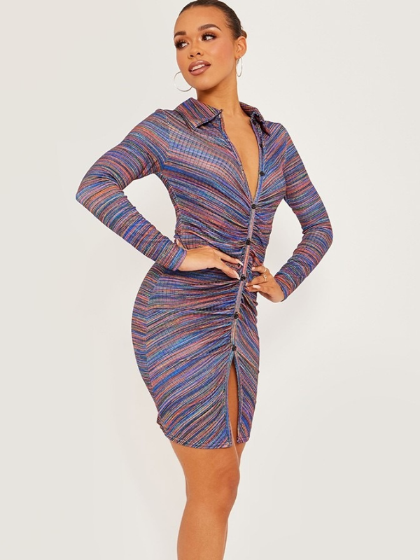 Rhea - Royal Blue Ruched Front Dress