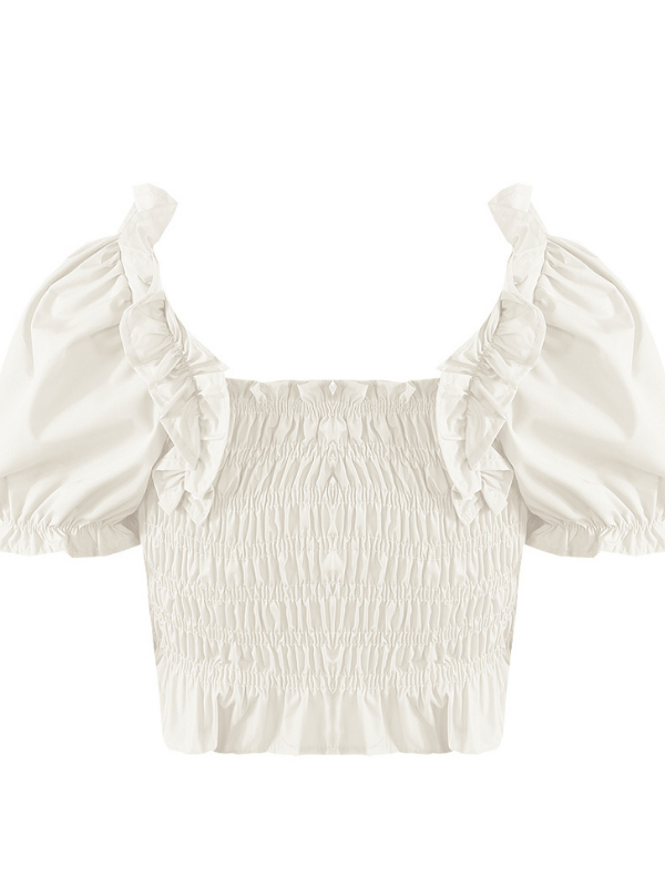 White Ruched Frill Crop Top