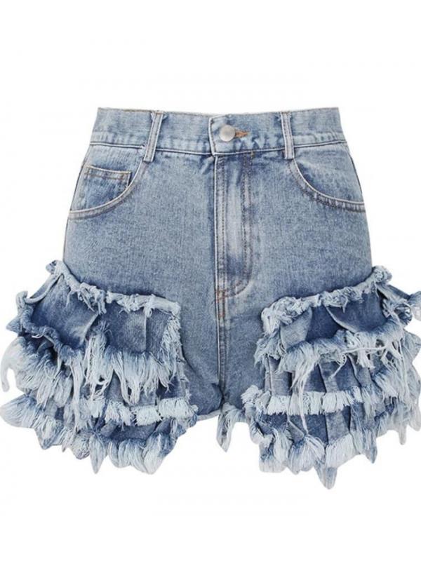 Feeling Ruffled - Denim Shorts