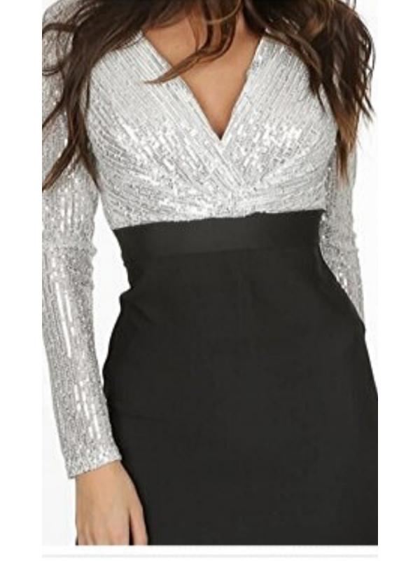 Silver Sequin Mini Bandage Dress