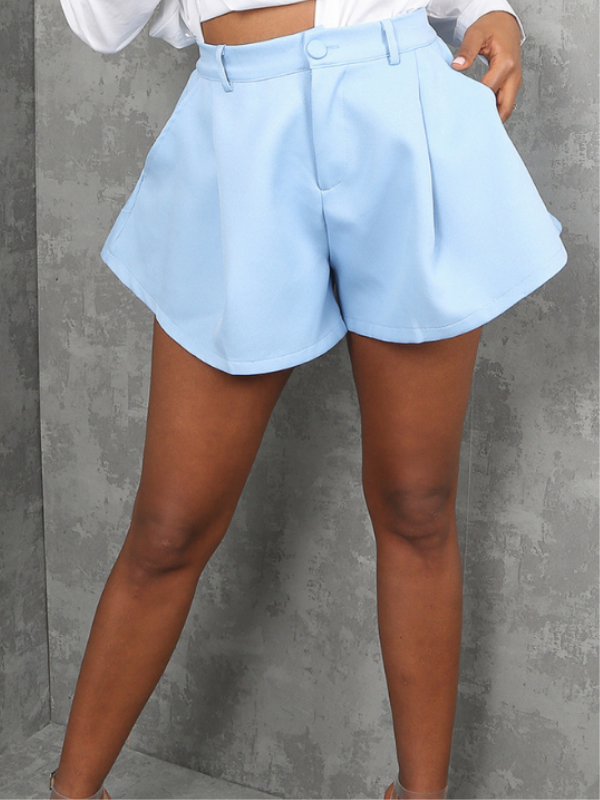 Sky Blue Tailored Baggy Shorts