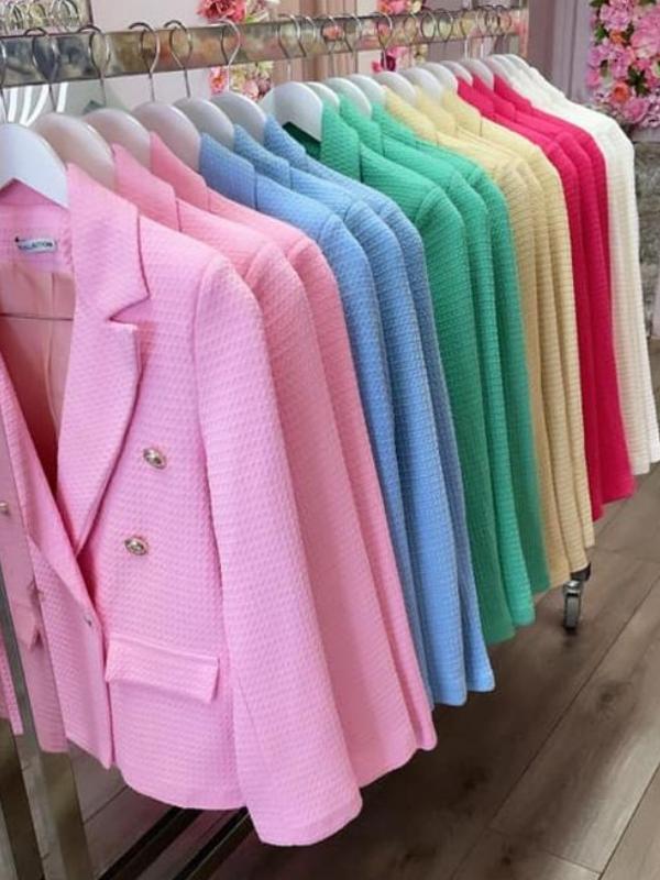 Fuschia Pink Textured Blazer