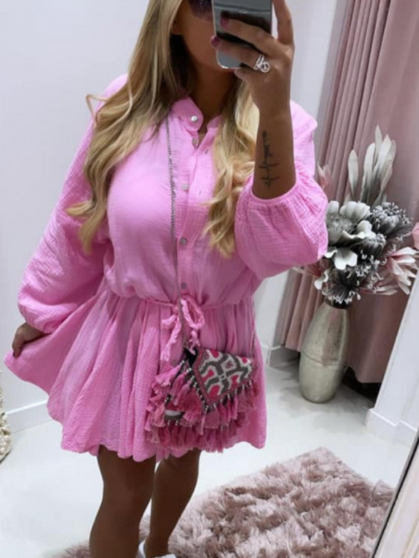 Sugar Pink Dress With Pleated Rope Belt