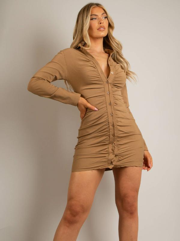 Taupe Ruched Mini Shirt Dress