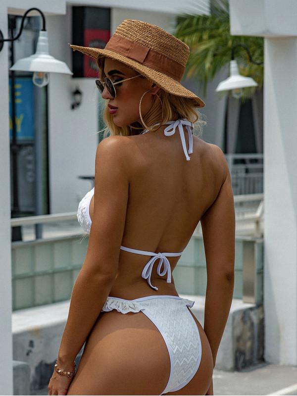 White Textured Strappy Bikini Set