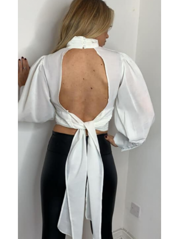 White Cut Out Back Top