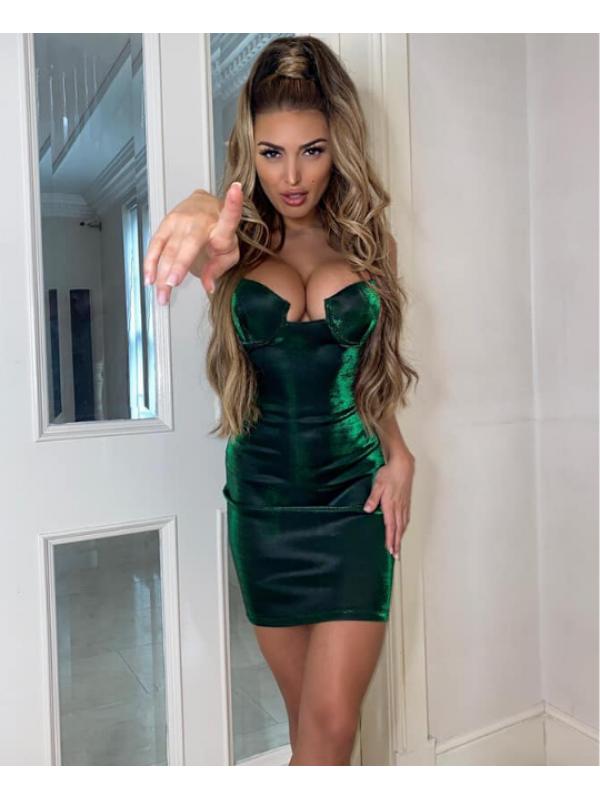 Metallic Green Bodycon Mini Dress
